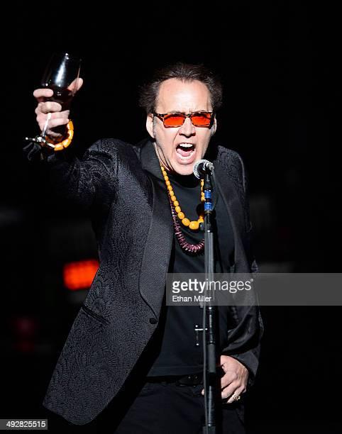 Actor Nicolas Cage introduces Guns N' Roses at The Joint inside the Hard Rock Hotel & Casino during the opening night of the band's second residency,...