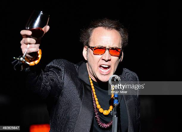 Actor Nicolas Cage introduces Guns N' Roses at The Joint inside the Hard Rock Hotel Casino during the opening night of the band's second residency...