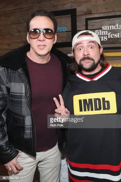 Actor Nicolas Cage of 'Mandy' and host Kevin Smith attend The IMDb Studio and The IMDb Show on Location at The Sundance Film Festival on January 19,...