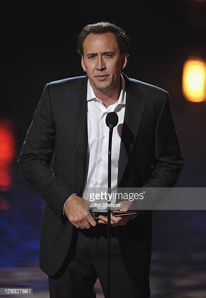 """Actor Nicolas Cage speaks onstage at Spike TV's """"SCREAM 2011"""" awards held at the Universal Studios Backlot on October 15, 2011 in Universal City,..."""