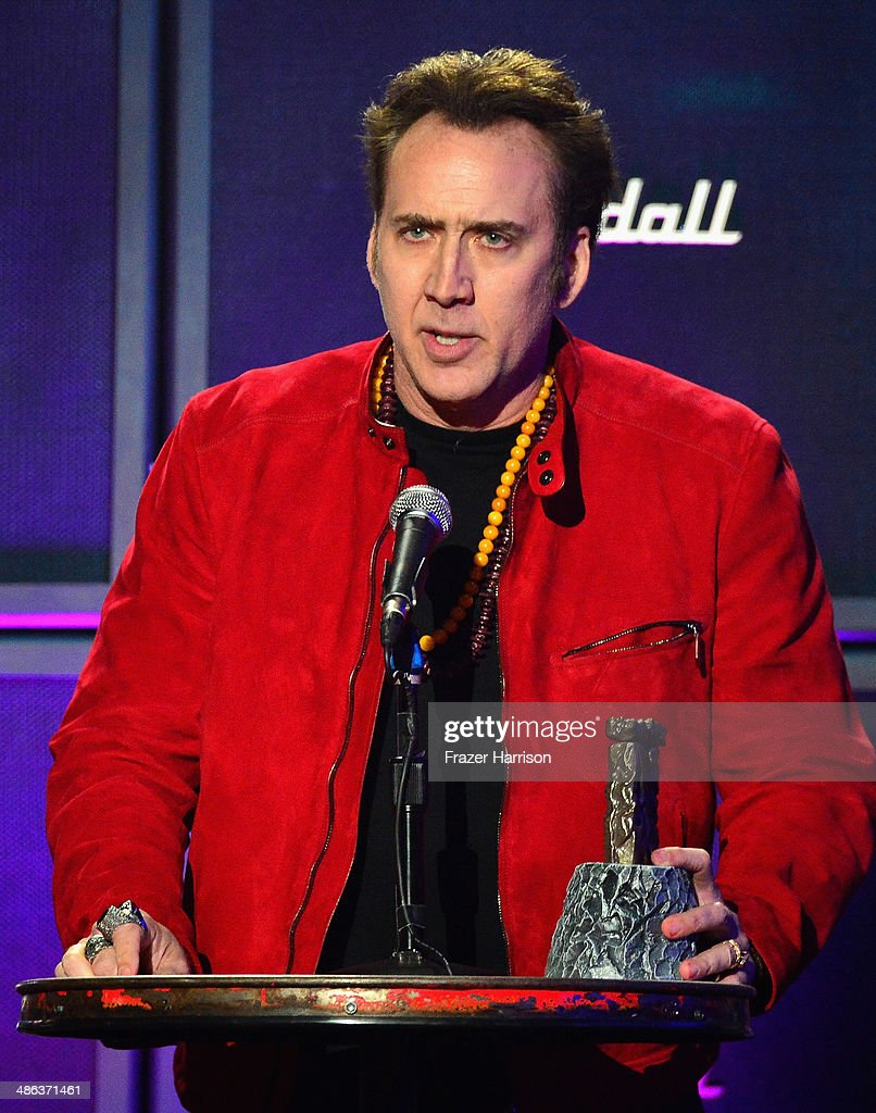 Actor Nicolas Cage speaks onstage at the 2014 Revolver Golden Gods Awards at Club Nokia on April 23, 2014 in Los Angeles, California.