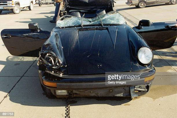 Actor Nicolas Cages 1989 Porsche Sportster sits on a concrete surface January 16 2002 after it was recovered from the Lake of the Ozarks MO The...