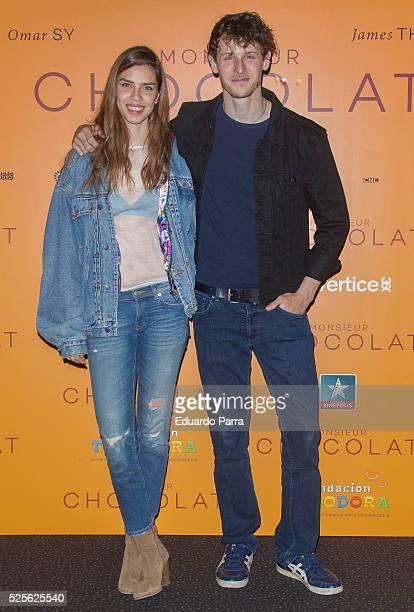 Actor Nicolas Coronado and model Ainara Aristegui attend 'Monsieur Chocolat' premiere at Kinepolis cinema on April 28 2016 in Madrid Spain