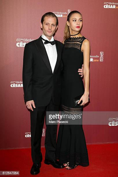 Actor Nicolas Duvauchelle and Laura Isaaz arrive to attend the 'Cesars Film Awards 2016' ceremony at Theatre du Chatelet on February 26 2016 in Paris...