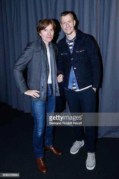 Actor Nicolas Godin and Stylist Lucas Ossendrijver attend the Lanvin Menswear Fall/Winter 2016-2017 show as part of Paris Fashion Week on January 24,...