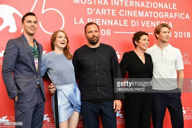 Actor Nicolas Hoult actress Emma Stone director Yorgos Lanthimos actress Olivia Colman and actor Joe Alwyn attend a photocall for the film The...