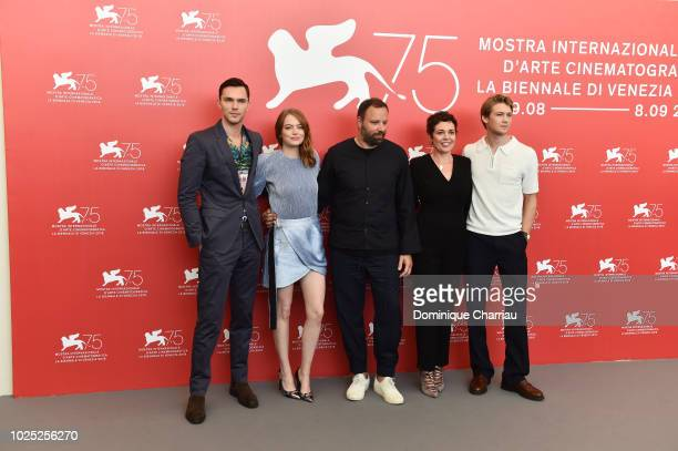 Actor Nicolas Hoult actress Emma Stone director Yorgos Lanthimos actress Olivia Colman and actor Joe Alwyn attend 'The Favourite' photocall during...