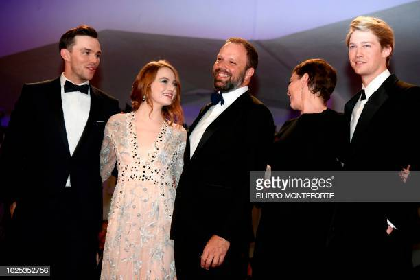 TOPSHOT Actor Nicolas Hoult actress Emma Stone director Yorgos Lanthimos actress Olivia Colman and actor Joe Alwyn arrive for the screening of the...