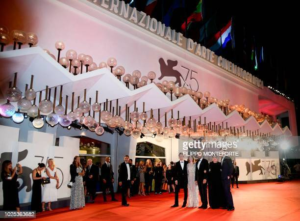 Actor Nicolas Hoult, actress Olivia Colman, director Yorgos Lanthimos, actress Emma Stone and actor Joe Alwyn arrive for the screening of the film...