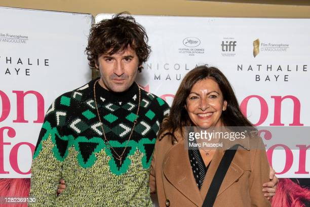 "Actor Nicolas Maury and Mayor of the city of Paris Anne Hidalgo attend the ""Garcon Chiffon"" premiere at UGC Les Halles on October 26, 2020 in Paris,..."