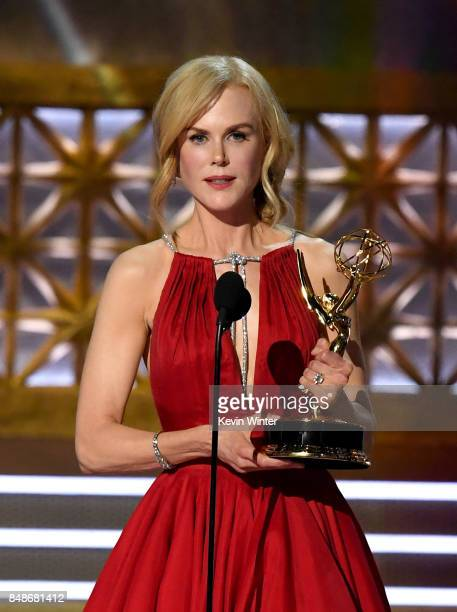 Actor Nicole Kidman accepts Outstanding Lead Actress in a Limited Series or Movie for 'Big Little Lies' onstage during the 69th Annual Primetime Emmy...