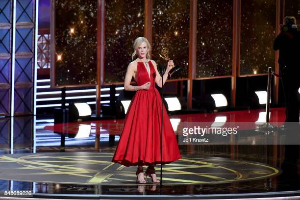 Actor Nicole Kidman accepts the Outstanding Lead Actress in a Limited Series or Movie award for 'Big Little Lies' onstage during the 69th Annual...