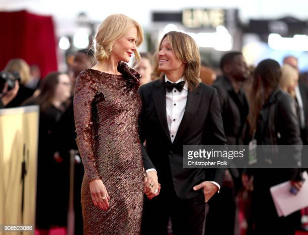 Actor Nicole Kidman and singer Keith Urban attends the 24th Annual Screen Actors Guild Awards at The Shrine Auditorium on January 21 2018 in Los...