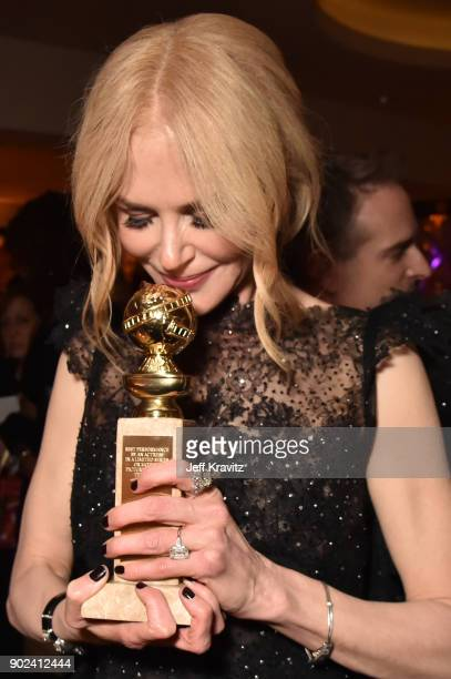 Actor Nicole Kidman holds her award for Best Performance by an Actress in a Limited Series or a Motion Picture Made for Television for 'Big Little...