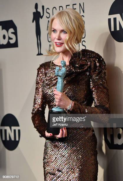 Actor Nicole Kidman poses in the press room during the 24th Annual Screen ActorsGuild Awards at The Shrine Auditorium on January 21, 2018 in Los...