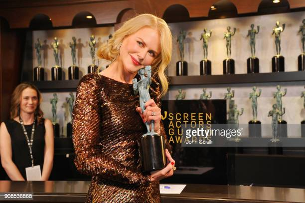 Actor Nicole Kidman poses in the trophy room at the 24th Annual Screen Actors Guild Awards at The Shrine Auditorium on January 21 2018 in Los Angeles...