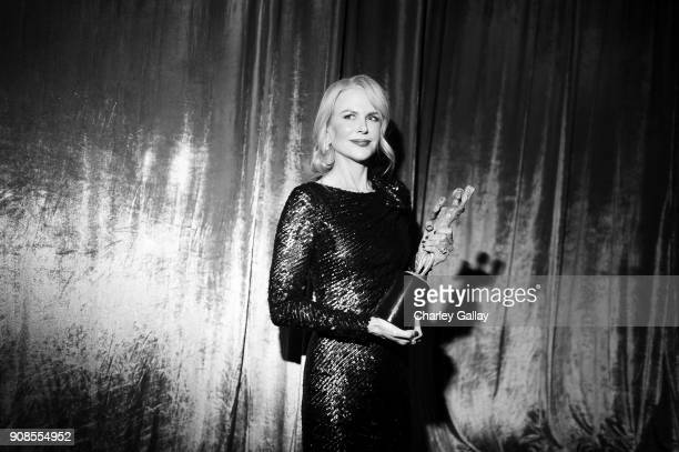 Actor Nicole Kidman poses with award for Outstanding Performance by a Female Actor in a Miniseries or Television Movie backstage during the 24th...
