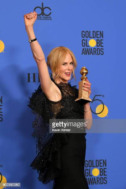 Actor Nicole Kidman poses with the Best Performance by an Actress in a Limited Series or a Motion Picture Made for Television for 'Big Little Lies'...