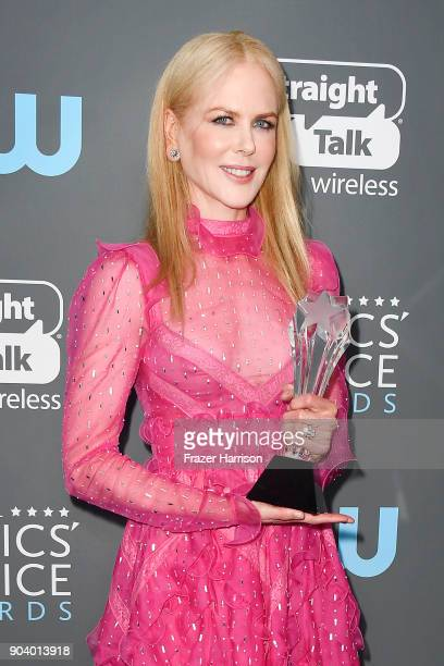 Actor Nicole Kidman recipient of the Best Actress in a Movie Made for TV or Limited Series award for 'Big Little Lies' poses in the press room during...