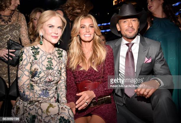 Actor Nicole Kidman singers Faith Hill and Tim McGraw attend the 52nd Academy Of Country Music Awards at TMobile Arena on April 2 2017 in Las Vegas...