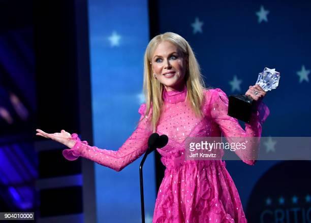 Actor Nicole Kidman speaks on stage at The 23rd Annual Critics' Choice Awards at Barker Hangar on January 11 2018 in Santa Monica California
