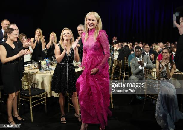 Actor Nicole Kidman wins Best Actress in a Movie/Limited Series for 'Big Little Lies' during The 23rd Annual Critics' Choice Awards at Barker Hangar...