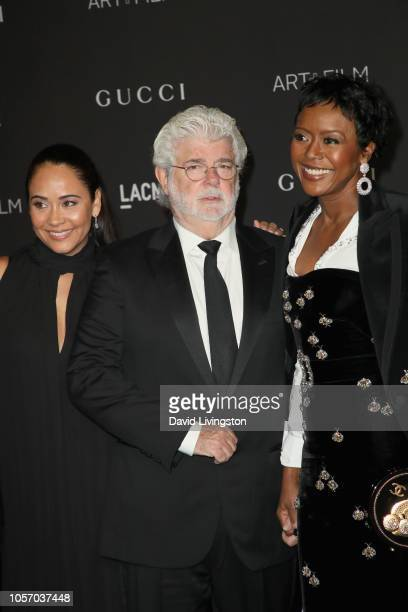 Actor Nicole Pantenburg directorproducer George Lucas and Ariel Investments President Mellody Hobson attend 2018 LACMA Art Film Gala honoring...