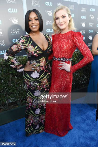 Actor Niecy Nash and actor Skyler Samuels attends Moet Chandon celebrate The 23rd Annual Critics' Choice Awards at Barker Hangar on January 11 2018...