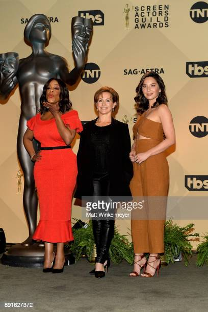 Actor Niecy Nash SAGAFTRA President Gabrielle Carteris and actor Olivia Munn pose during the 24th Annual SAG Awards Nominations Announcement at...