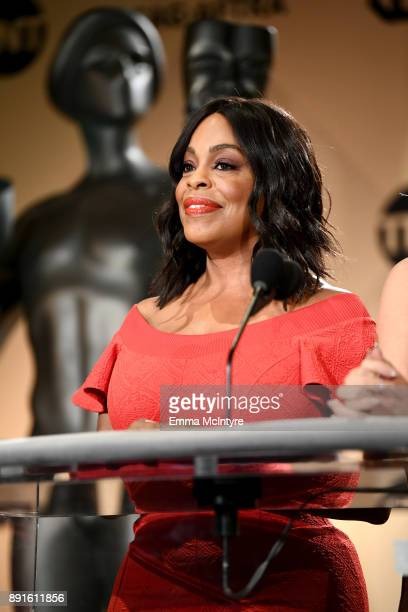 Actor Niecy Nash speaks at the 24th Annual Screen Actors Guild Awards Nominations Announcement at Silver Screen Theater on December 13 2017 in West...