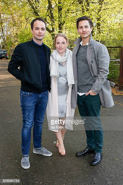 Actor Nikolai Kinski son of Klaus Kinski actress Paula Kalenberg wearing a dress of COS and actor Tim Oliver Schultz attend the presentation of a...