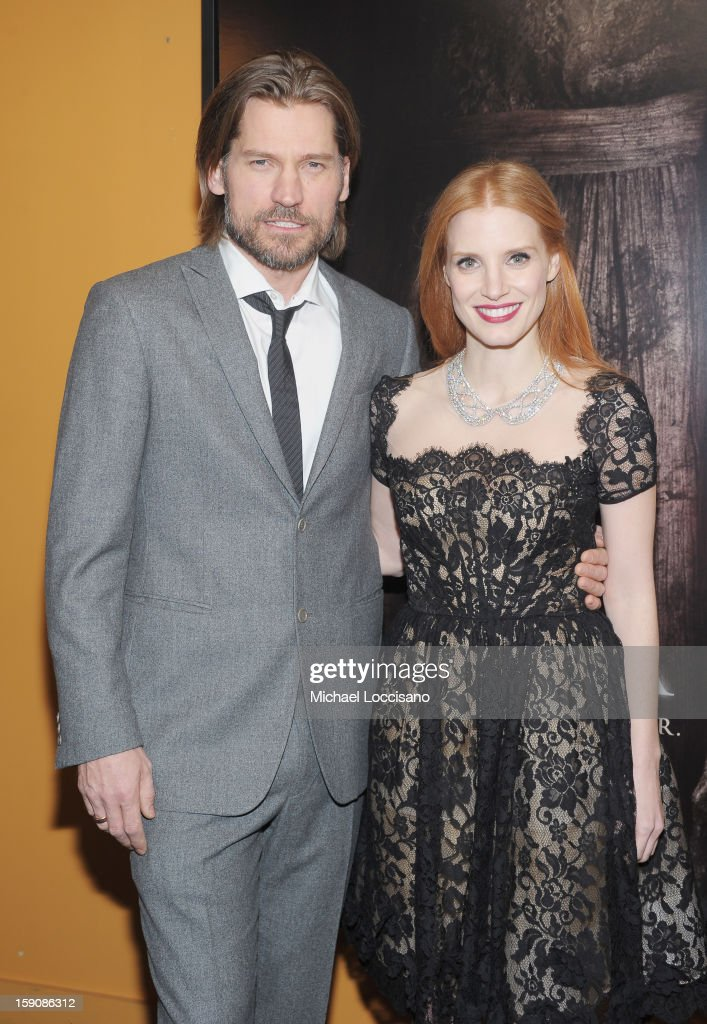 Actor Nikolaj Coster-Waldau and actress Jessica Chastain attend the 'Mama' New York Screening at Landmark's Sunshine Cinema on January 7, 2013 in New York City.