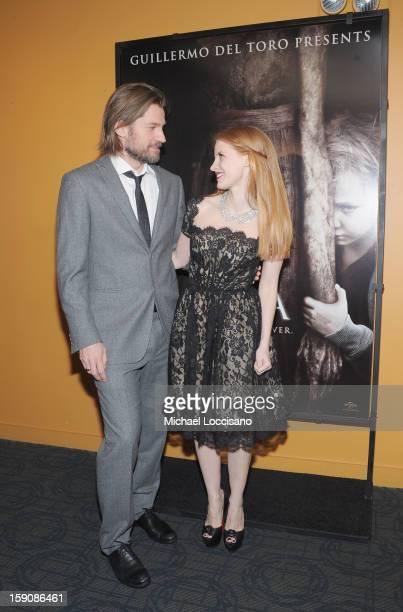 Actor Nikolaj CosterWaldau and actress Jessica Chastain attend the 'Mama' New York Screening at Landmark's Sunshine Cinema on January 7 2013 in New...