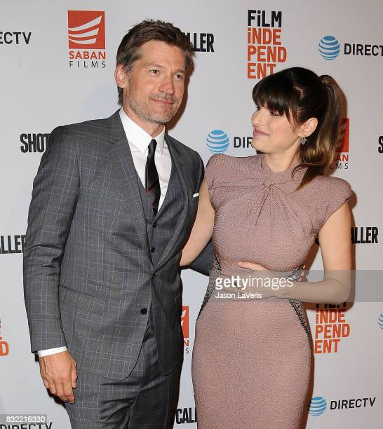 """Actor Nikolaj Coster-Waldau and actress Lake Bell attend the premiere of """"Shot Caller"""" at The Theatre at Ace Hotel on August 15, 2017 in Los Angeles,..."""