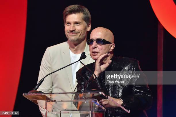 Actor Nikolaj CosterWaldau and musician Paul Shaffer speak onstage during Global Citizen Live at NYU Skirball Center on September 18 2017 in New York...