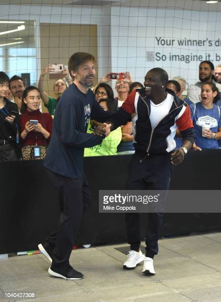 Actor Nikolaj CosterWaldau and Recording aratist Akon participate in the game during the 3rd Annual Global Goals World Cup at the SAP Leonardo Centre...