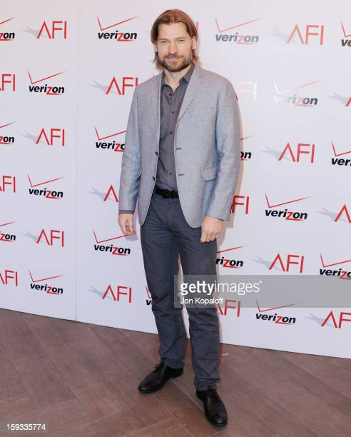 Actor Nikolaj Coster-Waldau arrives at the 2012 AFI Awards Luncheon on January 11, 2013 in Beverly Hills, California.