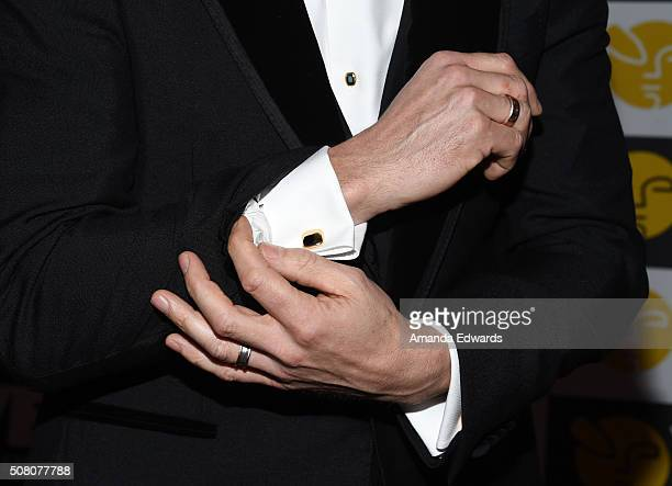 Actor Nikolaj Coster-Waldau, cufflink detail, arrives at the 14th Annual VES Awards at The Beverly Hilton Hotel on February 2, 2016 in Beverly Hills,...