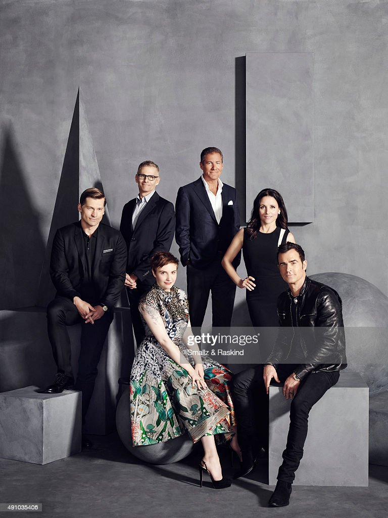 Actor Nikolaj Coster-Waldau, HBO's Programming Chief Michael Lombardo, actress, writer and director Lena Dunham, HBO CEO Richard Plepler, actress Julia Louis-Dreyfus, actor and writer Justin Theroux and are photographed for The Hollywood Reporter on May 31, 2015 in Los Angeles, California. COVER