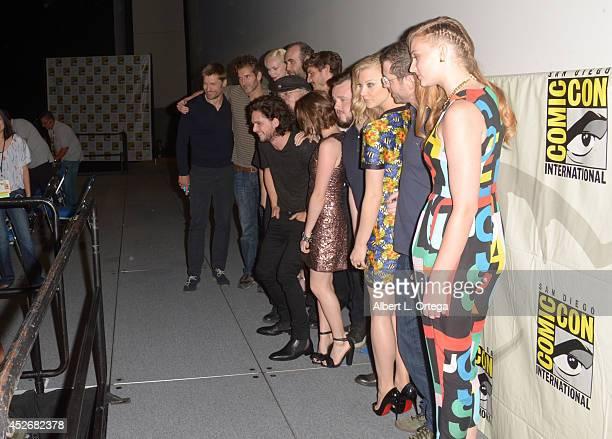 Actor Nikolaj CosterWaldau writer/producer David Benioff actors Gwendoline Christie and Rory McCann writer George RR Martin actors Pedro Pascal Kit...