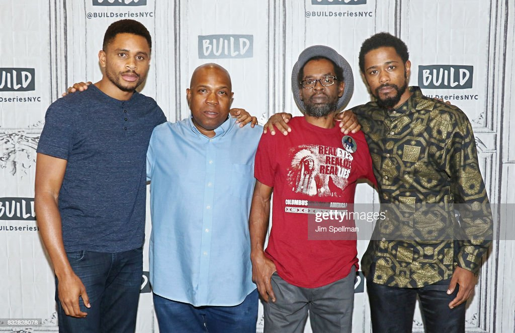 Actor Nnamdi Asomugha, Carl King, Colin Warner and actor LaKeith Stanfield attend Build to discuss 'Crown Heights' at Build Studio on August 16, 2017 in New York City.