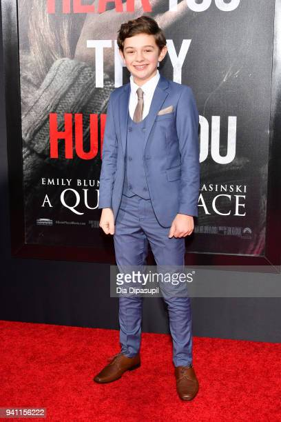 Actor Noah Jupe attends the A Quiet Place New York Premiere at AMC Lincoln Square Theater on April 2 2018 in New York City