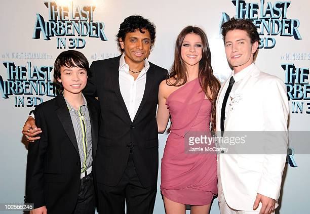 Actor Noah Ringer director M Night Shyamalan actress Nicola Peltz and actor Jackson Rathbone attend the premiere of 'The Last Airbender' at Alice...