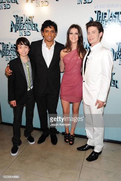 Actor Noah Ringer writer/director M Night Shyamalan actress Nicola Peltz and actor Jackson Rathbone attend the premiere of The Last Airbender at...