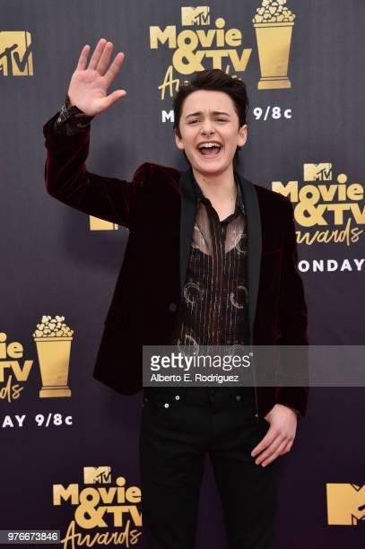 Actor Noah Schnapp attends the 2018 MTV Movie And TV Awards at Barker Hangar on June 16 2018 in Santa Monica California