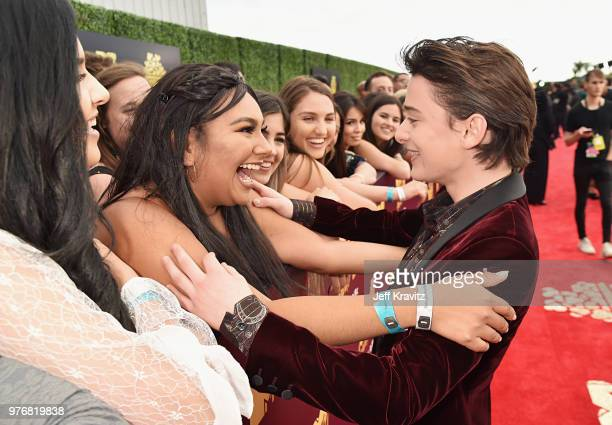 Actor Noah Schnapp attends the 2018 MTV Movie And TV Awards at Barker Hangar on June 16 2018 in Santa Monica California