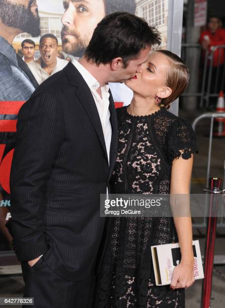 Actor Noah Wyle and Sara Wells arrive at the premiere of Warner Bros Pictures' 'Fist Fight' at Regency Village Theatre on February 13 2017 in...