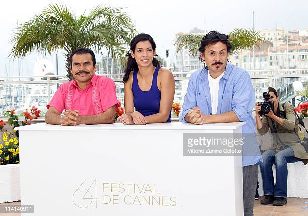 "Actor Noe Hernandez, actress Stephanie Sigman and director/writer Gerardo Naranjo attends the ""Miss Bala"" photocall at the Palais des Festivals..."