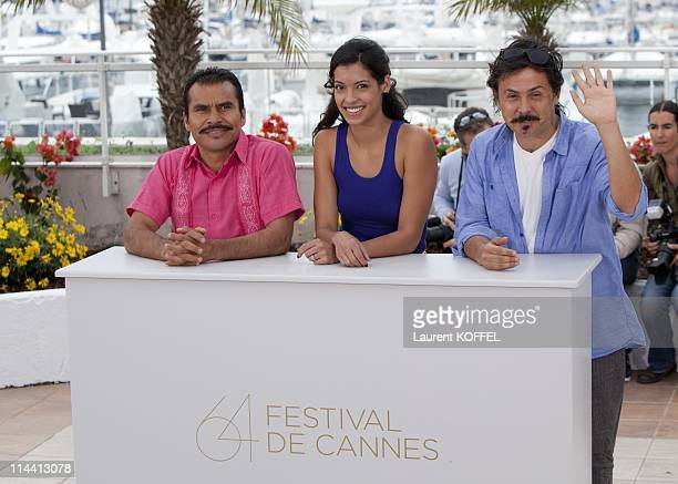Actor Noe Hernandez actress Stephanie Sigman and director/writer Gerardo Naranjo attends the 'Miss Bala' photocall at the Palais des Festivals during...