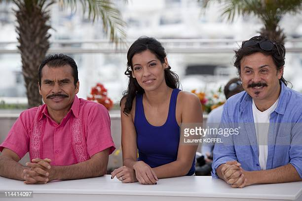 Actor Noe Hernandez actress Stephanie Sigman and director/writer Gerardo Naranjo attend the 'Miss Bala' photocall at the Palais des Festivals during...